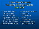 1 year post exclusivity reporting of adverse events june 2005