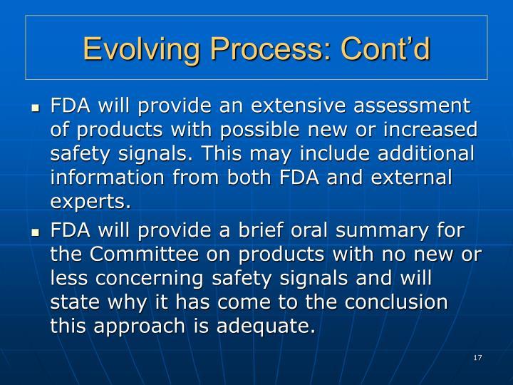 Evolving Process: Cont'd