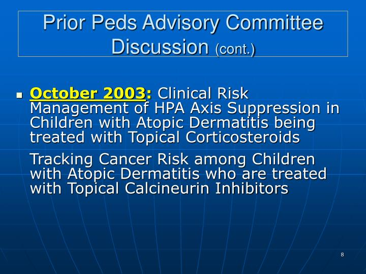 Prior Peds Advisory Committee Discussion