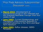prior peds advisory subcommittee discussion cont