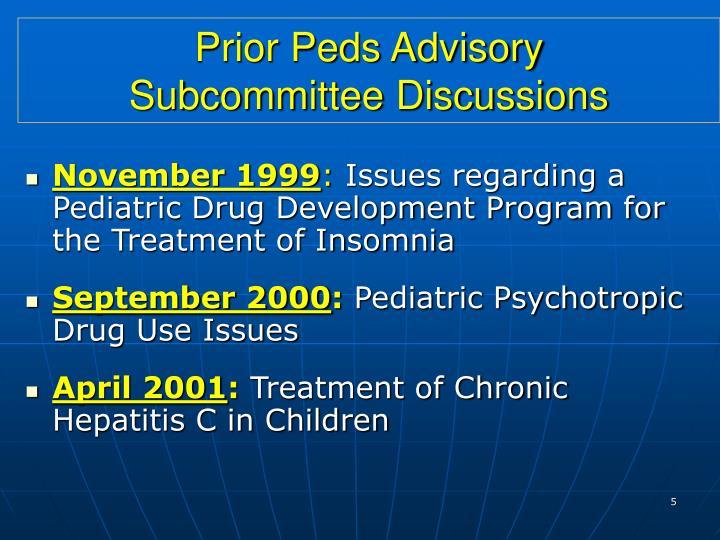 Prior Peds Advisory