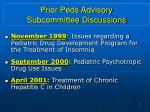 prior peds advisory subcommittee discussions