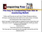 c onquering fear
