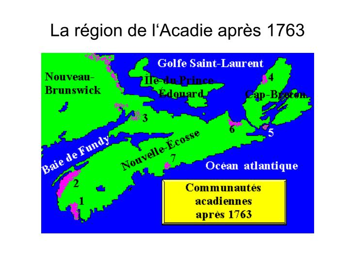 La région de l'Acadie après 1763