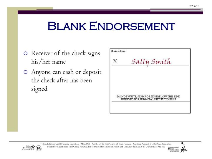 Blank Endorsement