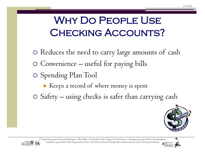 Why do people use checking accounts