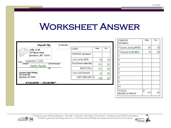 Worksheet Answer