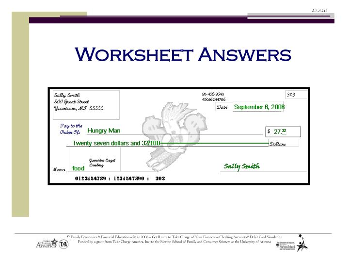 Worksheet Answers