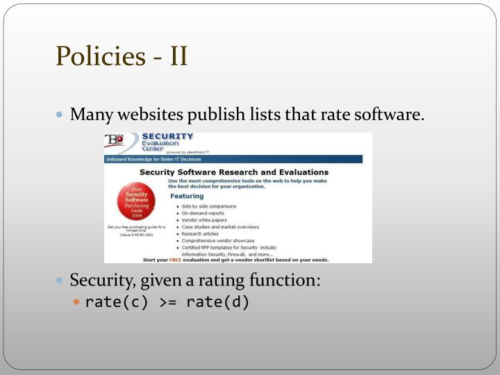 Policies - II