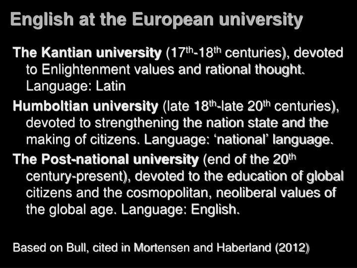 English at the European university