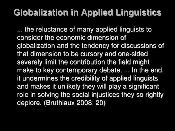 Globalization in Applied Linguistics
