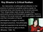 roy bhaskar s critical realism
