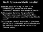 world systems analysis revisited