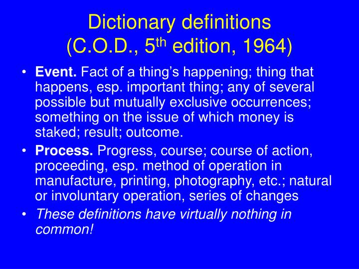Dictionary definitions c o d 5 th edition 1964