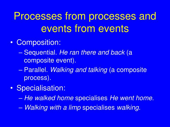 Processes from processes and events from events