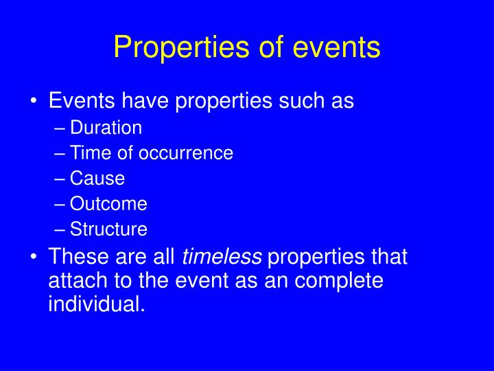 Properties of events