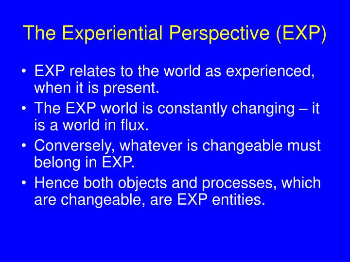 The Experiential Perspective (EXP)