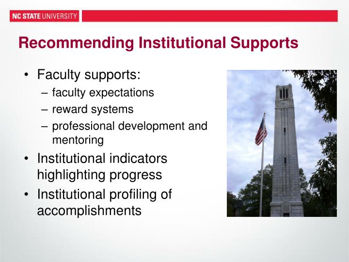 Recommending Institutional Supports
