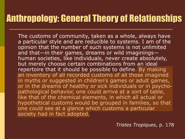 Anthropology: General Theory of Relationships