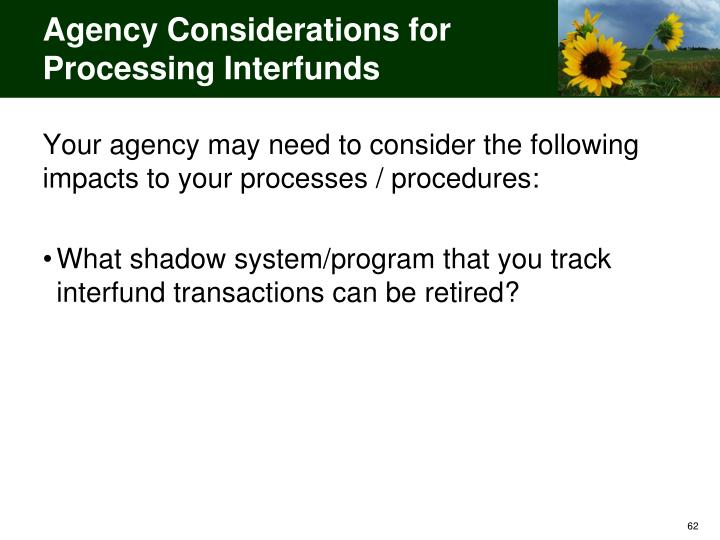 Agency Considerations for Processing Interfunds