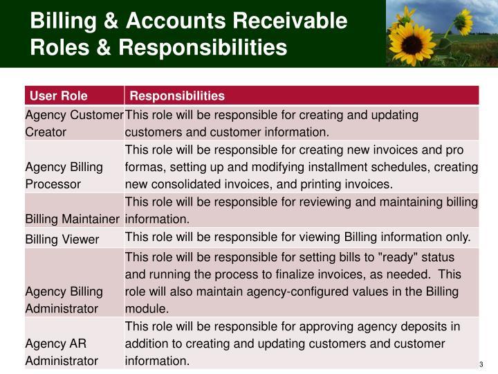 Billing & Accounts Receivable Roles & Responsibilities
