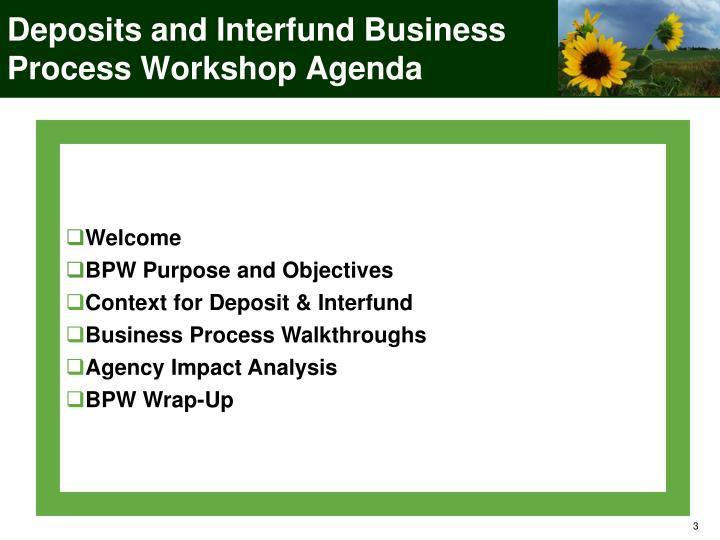 Deposits and Interfund Business Process Workshop Agenda