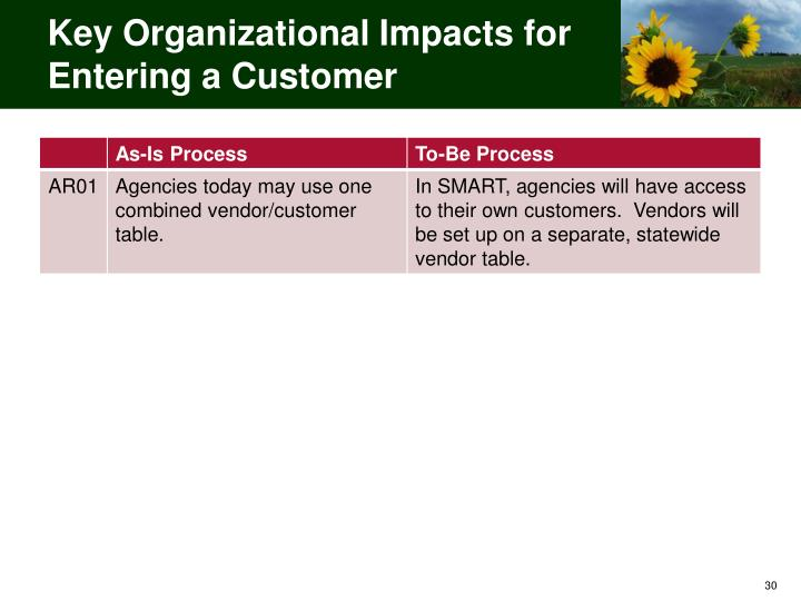 Key Organizational Impacts for Entering a Customer