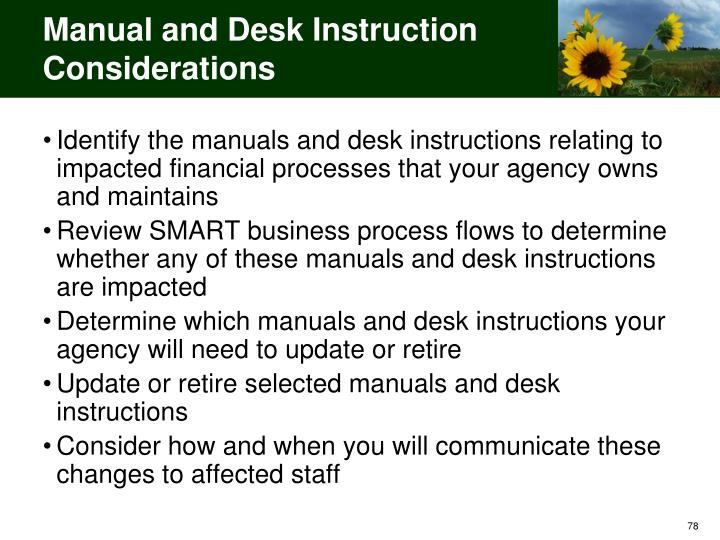 Manual and Desk Instruction Considerations