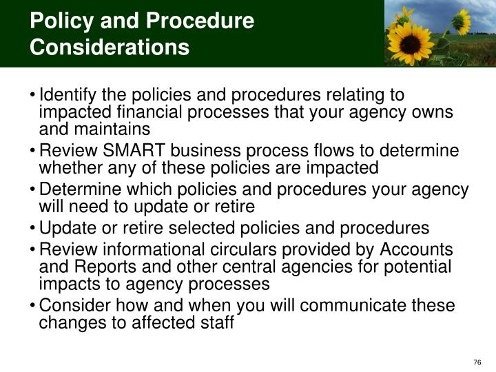 Policy and Procedure Considerations