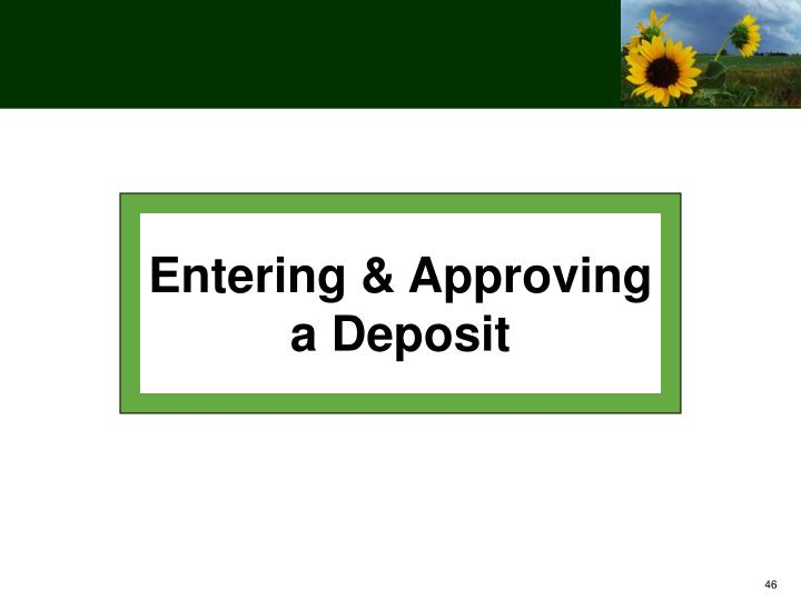 Entering & Approving a Deposit