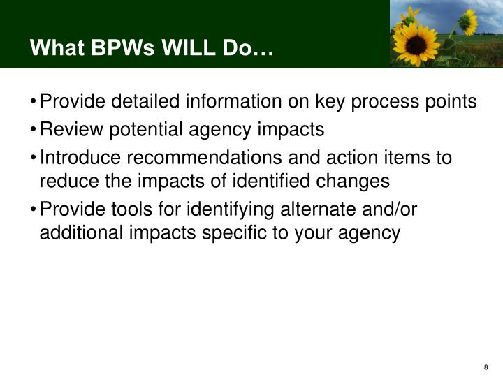 What BPWs WILL Do…