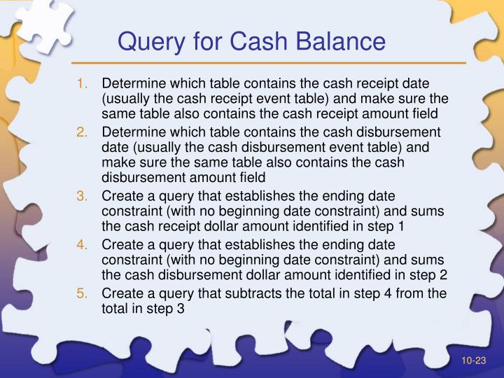 Query for Cash Balance