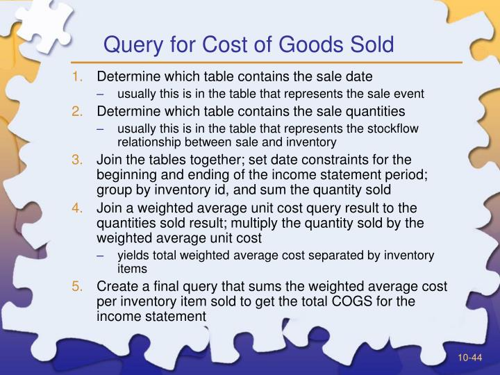 Query for Cost of Goods Sold