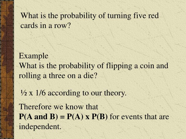 What is the probability of turning five red cards in a row?