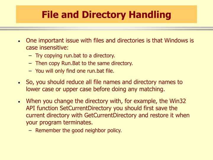 File and Directory Handling