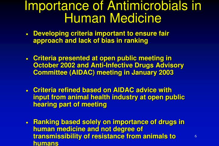 Importance of Antimicrobials in Human Medicine