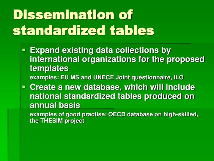 Dissemination of standardized tables