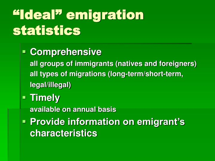 """Ideal"" emigration statistics"