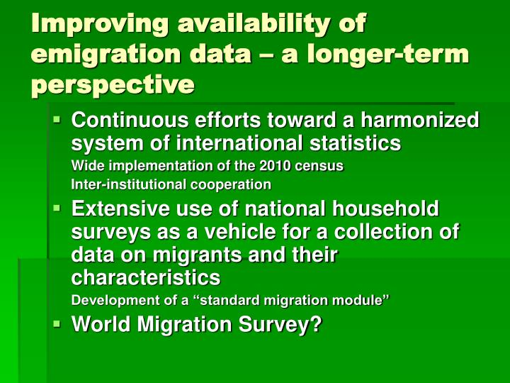 Improving availability of emigration data – a longer-term perspective