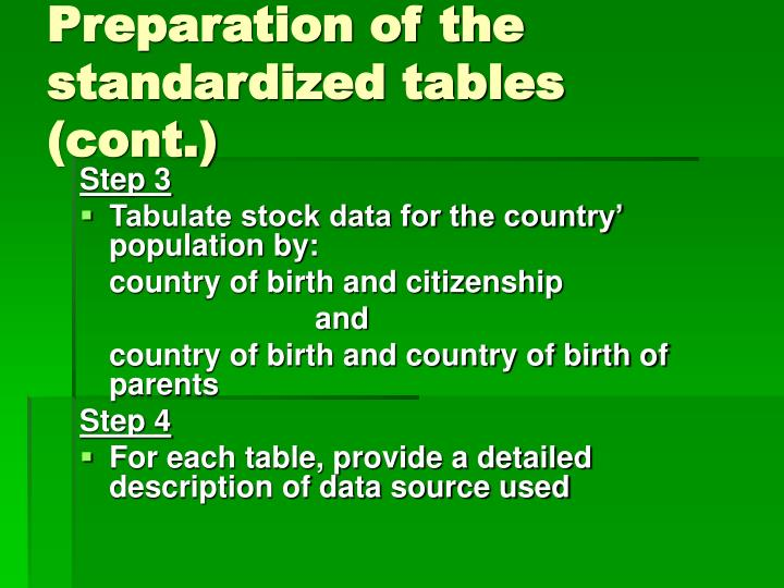 Preparation of the standardized tables (cont.)