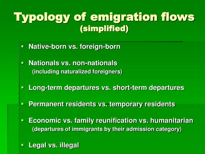 Typology of emigration flows