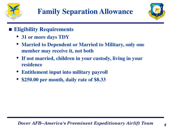 Family Separation Allowance