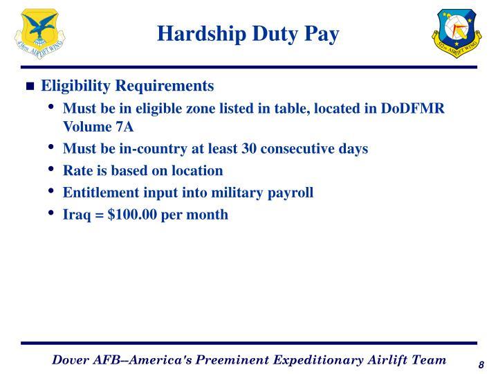 Hardship Duty Pay