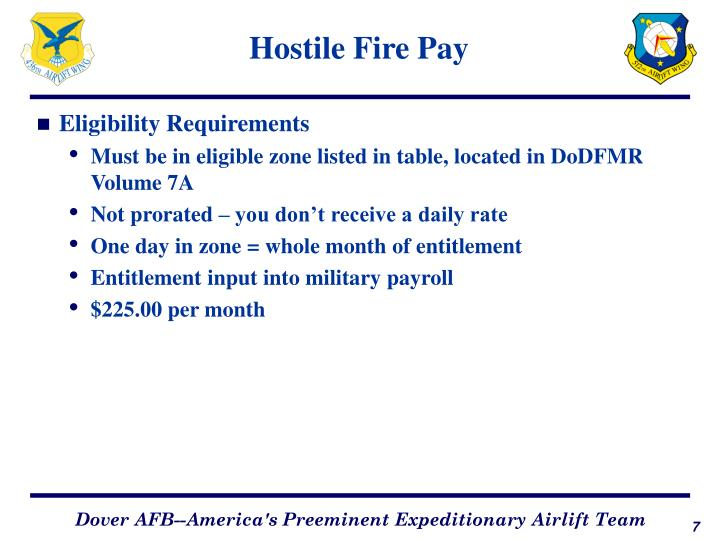 Hostile Fire Pay
