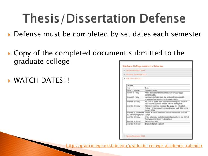 Thesis/Dissertation Defense