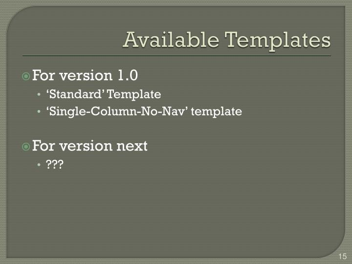 Available Templates