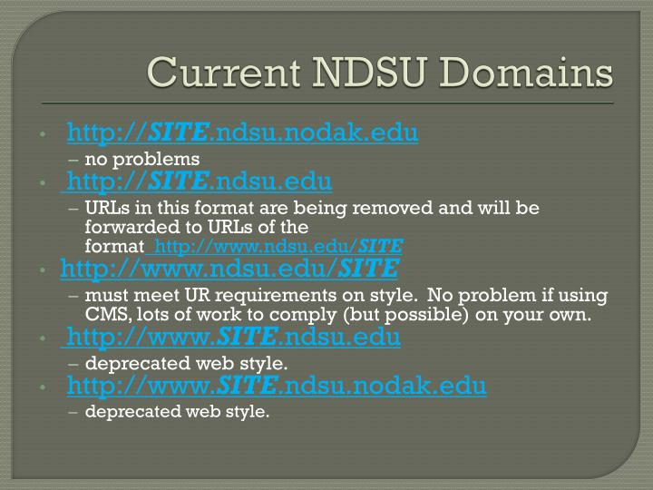 Current NDSU Domains