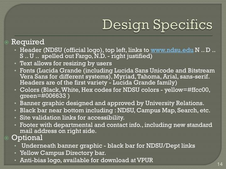 Design Specifics