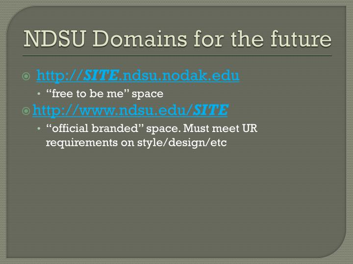 NDSU Domains for the future
