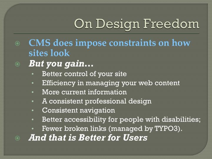 On Design Freedom